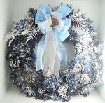 Snow Flocked Metallic Blue Front Door Wreath
