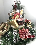 Tidings of Joy Farm House Wreath and Gift Basket in Red and Gold