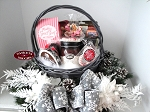 Tidings of Joy Farm House Wreath and Gift Basket in Gray