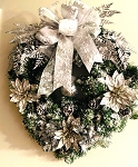 Snow Flocked Silver Monotone Wreath