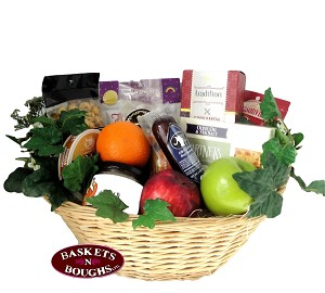 Gourmet Snacks and Fruit Gift Basket