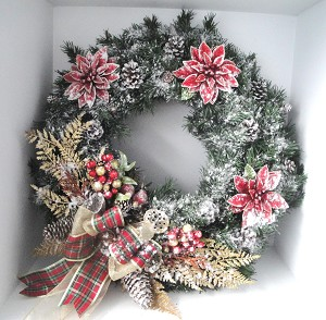 Snow Flocked Red and Gold Front Door Wreath